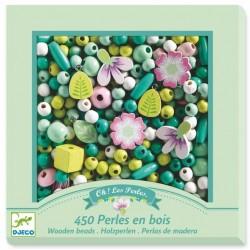 Perles en bois feuilles et...
