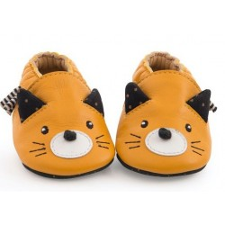 Chaussons cuir chat...